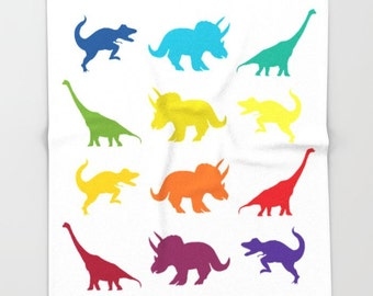 "Dinosaurs Blanket -  ""Dino Parade"" rainbow colors comfy fleece throw blanket - Dinosaurs, jurassic, kids, green, blue, animals, colorful"