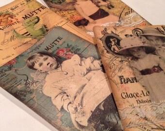 Set of 4 Vintage Journal Cards