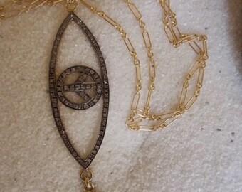 Pave Diamond Double Evil Eye Necklace