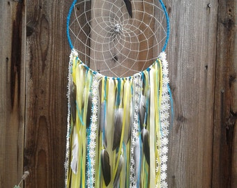 Large dreamcatcher, Dreamcatcher, Dream catcher, Blue and Yellow Dream catcher, Trippy Serendipity, Extra Large dreamcatcher