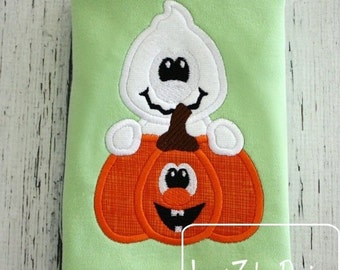 Ghost with Jack-o-lantern Appliqué Design
