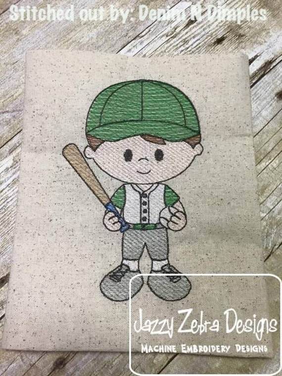 Baseball Boy 2 Sketch Embroidery Design - baseball sketch embroidery design
