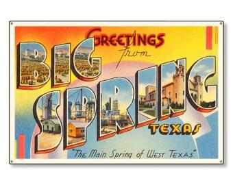 Big Spring Texas tx Old Retro Vintage Travel Postcard Reproduction Metal Sign Art Wall Decor STEEL not tin 36x24 FREE SHIPPING