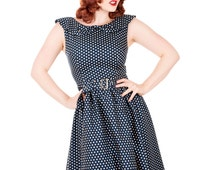 Navy Blue Polka Dot Dress Swing Vintage Retro UK Sizes 8/10/12/14/16/18/20