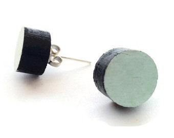Laser cut wood circle mint stud earrings,wood round mint stud earrings,mint post earrings,mint studs earring,ear studs
