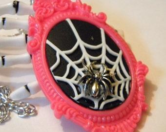 Spider Web cameo necklace