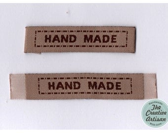 """15 Rectangle Khaki Cotton Woven """"Handmade"""" Fabric Labels For Sewing/Appliqued/Crafts/Scrapbooking"""