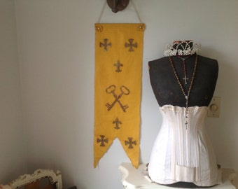 Antique 1904 French Church Convent Banner Vintage Buttons French Nordic Decor