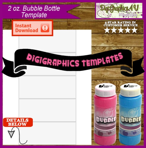 Bubbles bottle 2 oz 2 x 5 inch label printable template for Bubble bottle label template