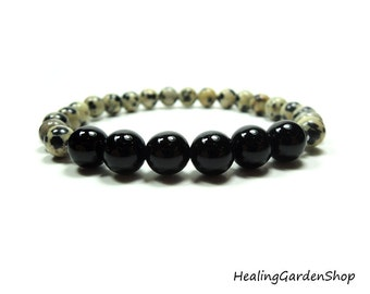 Onyx and Dalmatian Jasper // Animal Lover // Stress Relief for Animals Healing Energy Bracelet // Healing Garden Shop