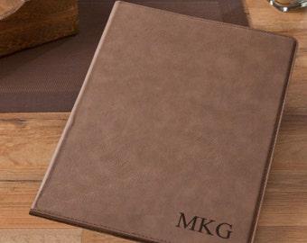 Personalized portfolio mocha microfiber monogrammed engraved custom desk business binder book padfolios legal pad holder cases executive