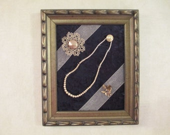 Framed Collage with Vintage Jewelry and Needlework