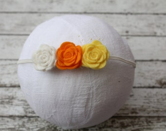 Candycorn Sweetie, Candycorn Headband, Felt Rose Headband, Fall Headband, Halloween Headband, Halloween Newborn headband, Felt roses