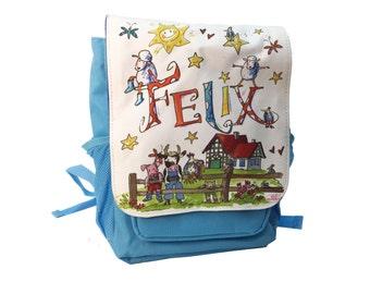 Kindergarten backpack, light blue, farm