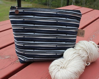 Knitting Project Bag Small Zippered Bag Sock Knitting Pouch Cotton Fabric Lined