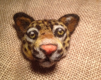 Leopard Brooch - Needle felted animal badge - handmade needle felted brooch
