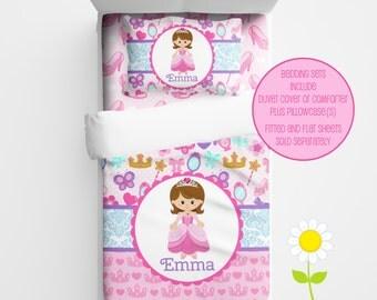 Personalized Princess Bedding for Kids - Pink Princess Duvet or Comforter - Personalized Duvet Set for Girls - Custom Kids' Comforter
