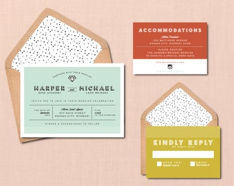 Modern Icon Wedding Suite // DOWN PAYMENT towards Printed Sets // Modern Wedding, Whimsical Wedding, Stroke Icon Invitation