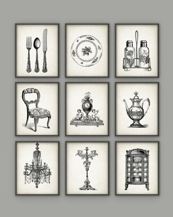 Dining room art prints set of 9 vintage home decor posters for Dining room posters