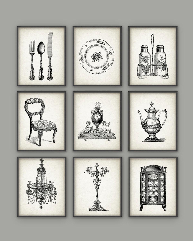 Dining room art prints set of 9 vintage home decor posters for Antique home decor