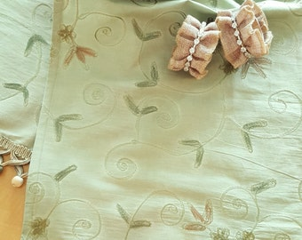 Silk Table Runner, Over Dyed Pale Sage Green Background With Matching  Embroidered Design. Highlighted