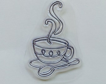 New for Rubber Stamping & Handmade Cards 1 Clear Acrylic Stamp cup of coffee