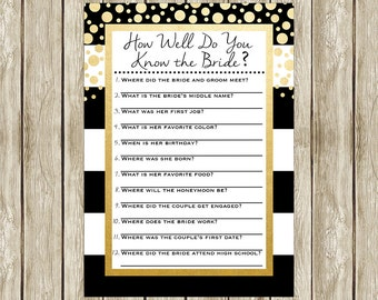 How Well Do You Know the Bride Game, White and Gold Bridal Shower Game, Black White and Gold Bridal Shower,  Instant Download Game 003
