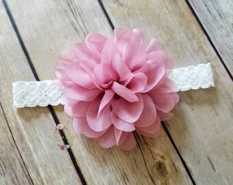 Newborn Headband Newborn Photo Prop Infant Headband Toddler Headband Pink Headband Flower Girl Headband Mauve Headband