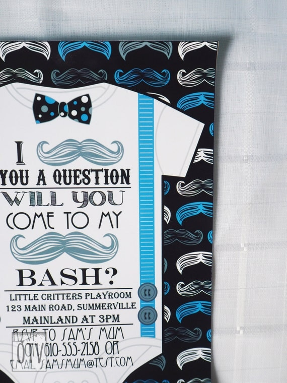 MUSTACHE Bash - 1st Birthday - Baby Boy - Baby Shower - INVITATION - Bowtie - Personalised - PRINTABLE - Pdf - Digital File