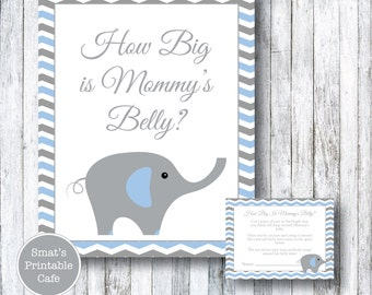 Blue & Gray Chevron Elephant Baby Shower How Big Is Mommy's Belly Game - Printable Baby Shower Games - Boy's Baby Shower - Instant Download