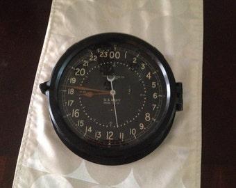 Vintage WWII US Navy Chelsea 24hr Navy Clock