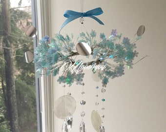 Sky Blue Cherry Blossom Baby Mobile, Crystal Baby Mobile, Flower Baby Mobile, Chandelier Baby Mobile