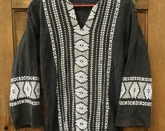 Vintage Black and White Long Sleeve Ethnic Tunic