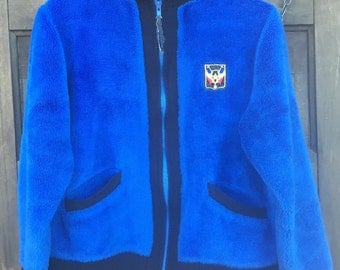 Vintage 70's Furry Blue Zip up Jacket With Coat of Arms size medium