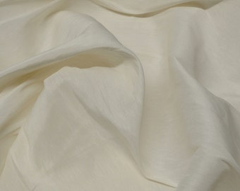 """White Silk & Linen Flax Plain Fabric, 54"""" Wide, By The Yard (JD-348A)"""