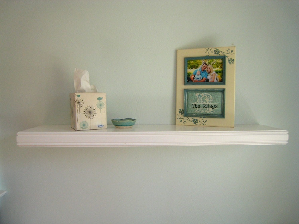 white floating wall shelf with double beaded decorative trim. Black Bedroom Furniture Sets. Home Design Ideas