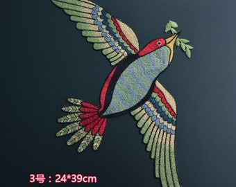 Large Bird embroidered patch applique vintage patch T-shirt or coat decoration patch