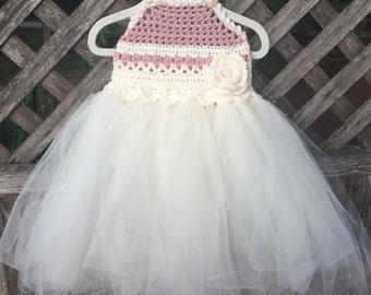 Crocheted tutu, birthday dress, girl's dress with tulle, crocheted dress, flower girl dress, sundress, girl's clothing, tulle dress
