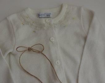 Vintage Infant's Sweater Pandora Mid Century White Baby Girl's Cardigan Sweater