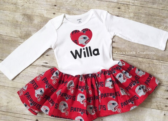 New England Patriots BodySuit, Baby Dress with name and Heart Applique