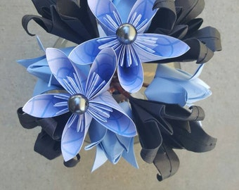 Blue and Grey Origami Flower Arrangement