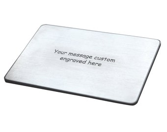 Engraved Credit Card - Customized Wallet Insert - Wallet Insert - Personalized Wallet insert card - Custom Your own Message - Front & Back