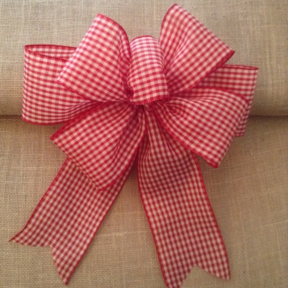 christmas gingham decorative bows red and white by craftsbybeba. Black Bedroom Furniture Sets. Home Design Ideas