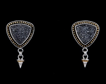 Pyrite Fire 1 - Earrings - Sterling Silver and 24K Gold plating - Drusy Pyrite