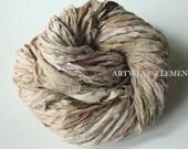 Extra Shabby Bone Ivory, Fair Trade, Vintage Sari Silk, 5 Yards, Textile Fiber, Yarn, Bracelet Ribbon, Silk Fabric, Artwear Elements, #121