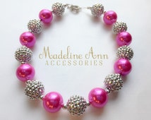 Hot Pink Metallic Silver Chunky Bubblegum Bead Necklace for Girls, Girls Sparkle Necklace