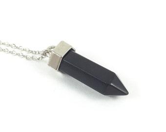 Onyx Necklace; Gemstone Necklace; Black  Gemstone Pendant