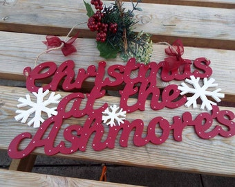CHRISTMAS AT THE..... sign/wall-hanger, hand-painted **Personalised and cut to order - Please allow four weeks for delivery**