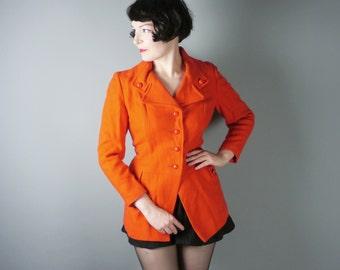 ORANGE 60s wool coat jacket - rich autumnal PUMPKIN colour - MOD retro scooter girl xs-s
