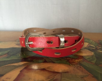 Red Skinny Belt Vintage Distressed Silver Buckle Women's size XS or Small